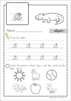 Handwriting - Beginning Sounds {Lowercase Letters} Vic. Modern Cursive font
