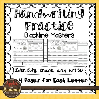 Handwriting - Blackline Masters - Tracing and Writing - Upper and Lower Case