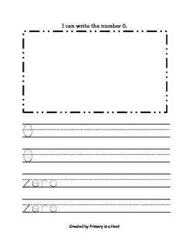 Handwriting Book Numbers 0-20