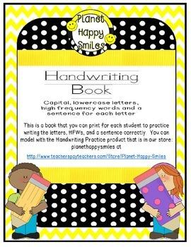 Handwriting Book (letters, HFW, sentence)