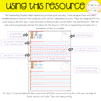 Handwriting Booklets - Year 2 Queensland Font
