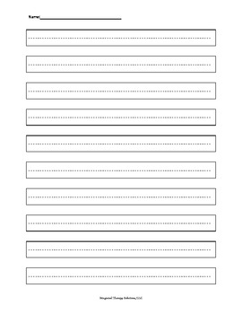 Handwriting Boundary Paper with dashed lines 1.5cm.