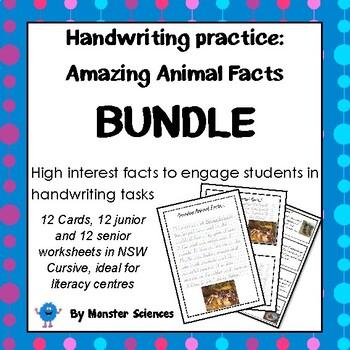 Handwriting Bundle! Amazing Animal Facts in NSW Cursive