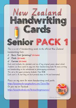 Senior Handwriting Card Pack 1 (New Zealand Font)