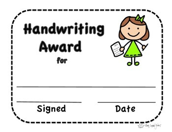 Handwriting Certificate, Certificate, Handwriting Award, Our Crown Jewels