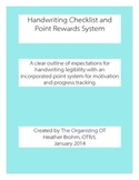 Handwriting Checklist and Points Reward System