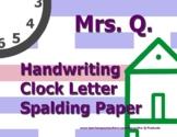 Handwriting Clock Letter Spalding Paper