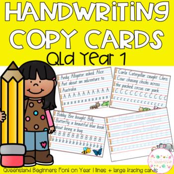 Handwriting Copy Cards - QLD Beginners Font (Prep-Yr1)