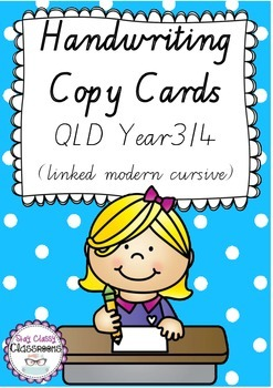 Handwriting Copy Cards - QLD Linked Modern Cursive Font (Yr 3/4)