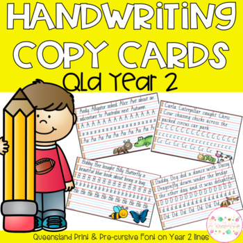 Handwriting Copy Cards - Queensland Modern Cursive Font (Yr 2)