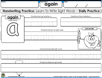 Handwriting Daily Practice: Learn To Write Sight Words. Level B