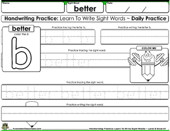 Handwriting Daily Practice: Learn To Write Sight Words. Level D