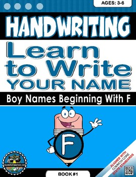 Handwriting Daily Practice: Learn To Write Your Name. Boy Names Beginning With F