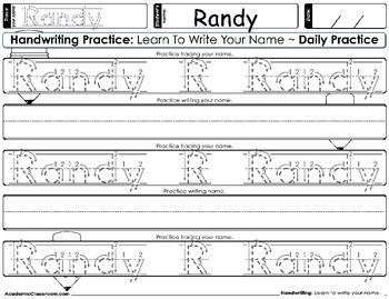 Handwriting Daily Practice: Learn To Write Your Name. Boy Names Beginning With R