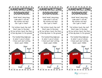 Handwriting Doghouse Bookmarks