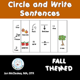 Sentence Building with Pictures Fall Themed