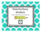 Handwriting Fluency Worksheets