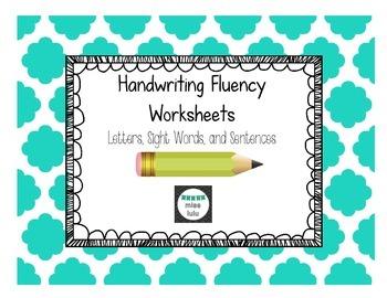 Handwriting Fluency Worksheets