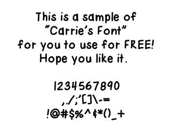 "Handwriting Font:  ""Carrie's Font"" FREEBIE"