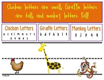 Handwriting Helper Poster: Chicken, Monkey, and Giraffe Letters