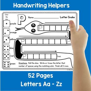 Handwriting Practice Aa - Zz:  Letter Snakes