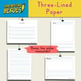 "Three-Lined Handwriting Paper and bonus ""Line Picker"" Assessment Tool"