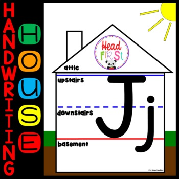 Handwriting House Cards for Letter Placement - Upstairs, Downstairs, Basement