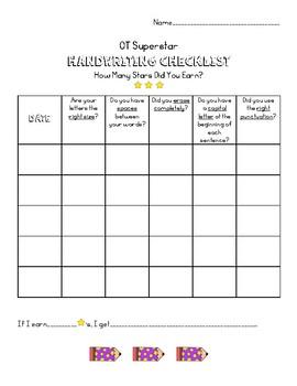 Handwriting Journal with Checklist