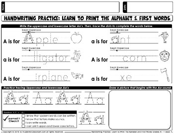 Handwriting Practice: Learn to Print Alphabets & First Words Ages:3-6
