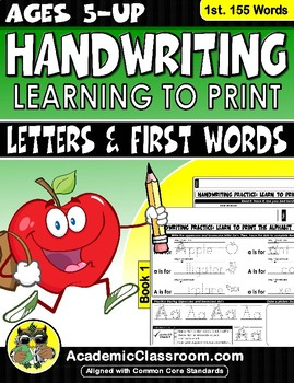 Handwriting Practice: Learn to Print Letters & First Words Ages:3-6
