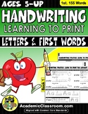 Handwriting Practice: Learn to Print Letters & First 155 W