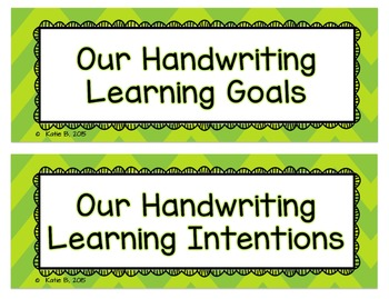 Handwriting Learning Goals
