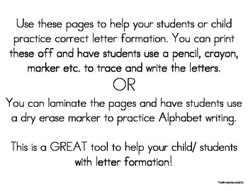 Handwriting Letter Aa to Zz Trace & Write Packet