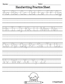 handwriting letter writing practice sheets a to z