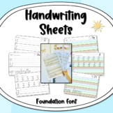Handwriting Letter + Number Formation Practice Sheets - Foundation Dotted Thirds