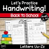 Handwriting Letters U-Z