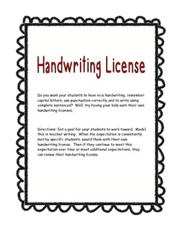 Handwriting License