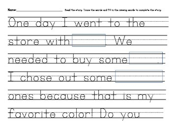 Handwriting Mad Libs