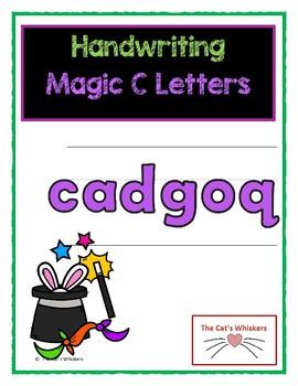 Handwriting Magic C Letters - c, a, o, d, g, q