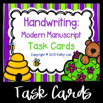Handwriting: Modern Manuscript Task Cards