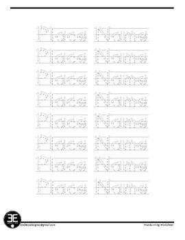 Handwriting Name Practice Sheet
