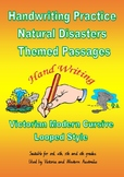 Handwriting : Natural Disasters Themed Passages - Victorian Modern Cursive Join