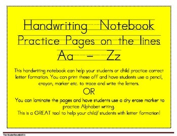 Handwriting Notebook on the Lines from Aa to Zz