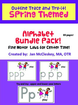 Handwriting Outline Trace and Try-It Center Time ABC's SPRING THEME