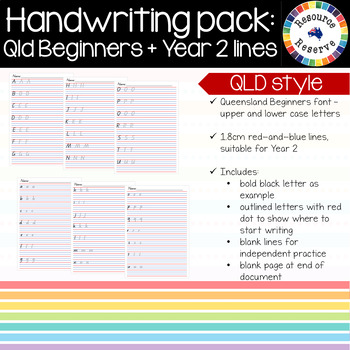 Handwriting Pack - Qld Beginners letters + Year 2 lines
