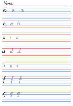 Handwriting Pack - Qld Cursive letters + Year 2 lines