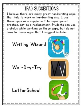 Handwriting Packet - For School and Home