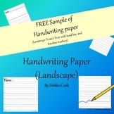 Handwriting Paper Landscape Freebie