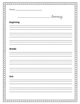 Handwriting Paper for Teaching Summarizing