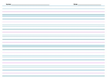 Handwriting Paper, with Header - 7 rows - Landscape